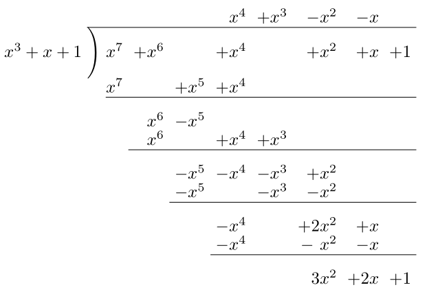 polynomial long division latex code example