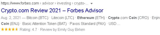 Crypto.com Review by Forbes, rating 4.7/5